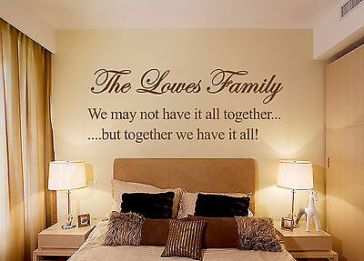 £0.99 • Buy PERSONALISED Family Bedroom  Art Quote, Wall Sticker,  Modern Transfer UK SH192