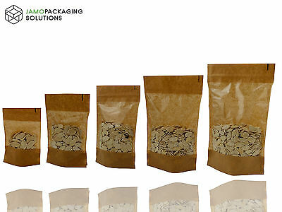 Display Bags Kraft Paper Window Stand Up Plastic Bag Pouch  • 3.74£