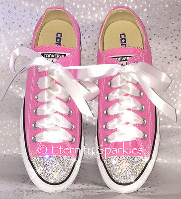Customised Pink Crystal Bling Converse All Star Lo Made With SWAROVSKI ELEMENTS • 75.99£