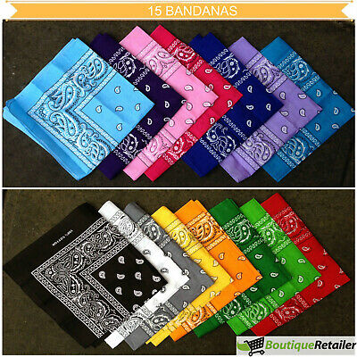 AU33 • Buy 15x BULK BANDANA Paisley 100% COTTON Head Wrap Bandanna Head Wrap Summer Scarf
