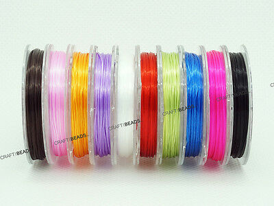 $7.99 • Buy 0.8mm Strong Elastic Floss Flat Stretchy Beading Cord Thread Assorted 10 Spools