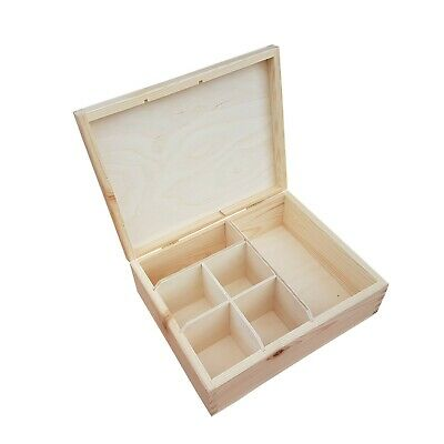 Wooden Box Whit Six Compartments ,  Plain Wood, For  Decoupage  • 14.99£