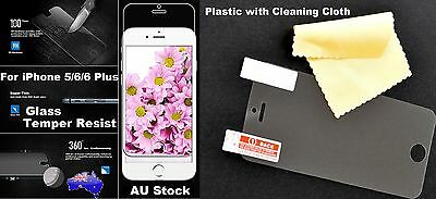 AU9.99 • Buy Glass Tempered Resist / Plastic Screen Protector For Apple IPhone 5 6 6S 7 Plus
