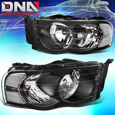 $82.93 • Buy For Dodge Ram 2002-2005 1500/2500 Black Housing Clear Euro Crystal Headlights