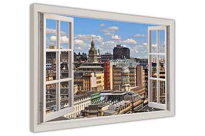 £9.99 • Buy Glasgow Scotland 3d Window Bay Effect Canvas Wall Art Prints Framed Pictures