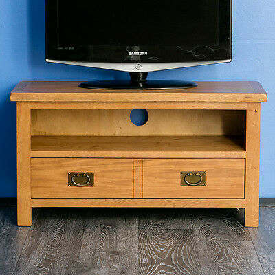 £159.95 • Buy Surrey Oak TV Stand Rustic Solid Wood Small Television Unit Waxed Wooden Cabinet