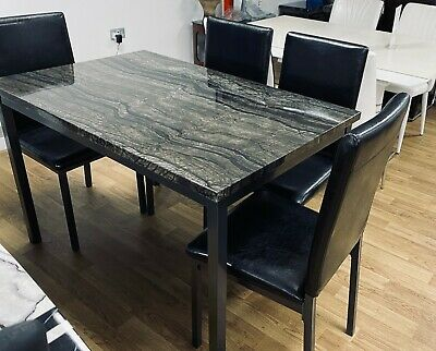 Marble Effect Gloss Finish Dining Table And Chairs Sets In Black, Brown Or Grey • 89£