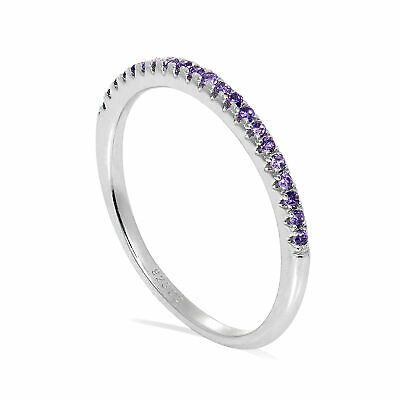 Sterling Silver & CZ Crystal 1.5mm Half Eternity Stacking Ring Size J - S • 15.75£