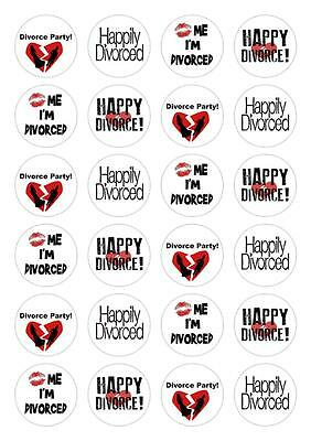 24 Happy Divorce Party Cupcake Fairy Cake Toppers Edible Rice Wafer Paper • 2.25£