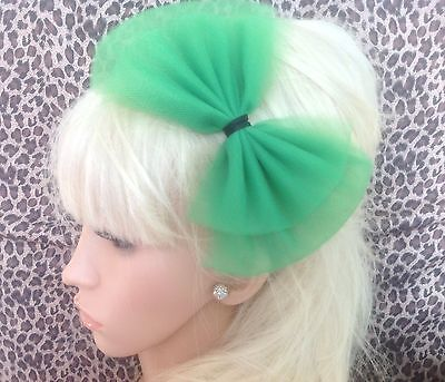 £3.99 • Buy EMERALD GREEN BOW TULLE TUTU NET ALICE HAIR HEAD BAND 80s RETRO PARTY FANCY DRES