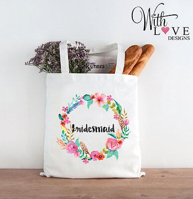 £6.99 • Buy Bridesmaid Floral Tote Shopper Shopping Bag Personalised Wedding Hen Party Gift