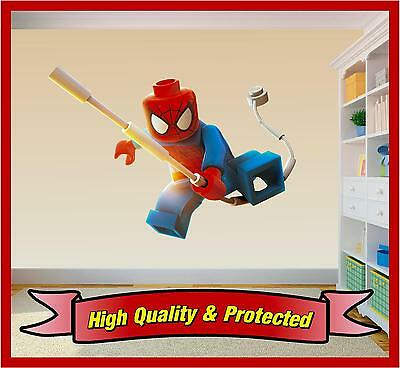 Lego Spiderman - Wall Printed Vinyl Sticker Decal Childrens Bedroom Boys Girls • 4.59£