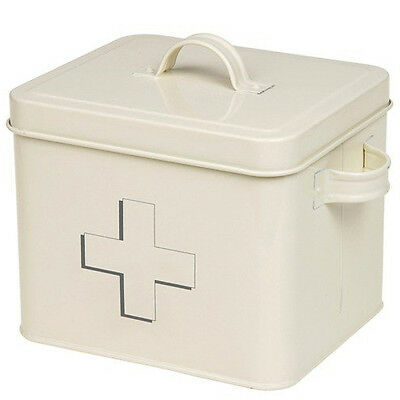 £3.99 • Buy Enamel First Aid Box Medicine Tin Lid Cabinet Medical Kit New Storage Container
