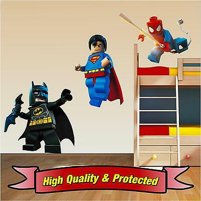 Lego Superhero Set - Superman Spiderman Batman Wall Stickers Decal Childrens Boy • 5.99£
