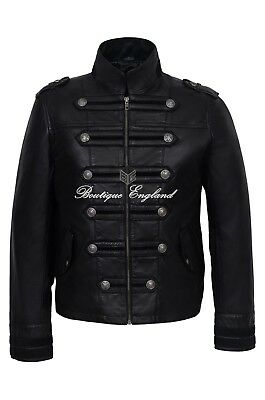 'BATTALION' Men's BLACK Military Style Steam Punk Real Leather Jacket Coat 2212 • 116.99£