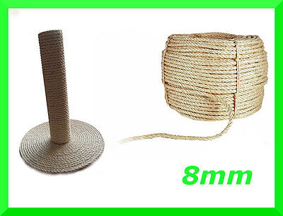8mm Natural Sisal Rope Twisted Braided,Decking,Garden,Cat Scratching Post,Crafts • 3.83£