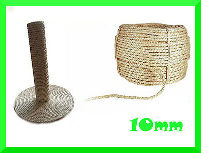 10mm Natural Sisal Rope Twisted Braided,Decking,Garden,Cat Scratching Post,Craft • 6.58£