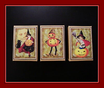 $ CDN5.24 • Buy Three Halloween Gift Boxes With Vintage Designs, Pumpkin Man And Witches
