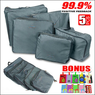 AU10.99 • Buy 5pcs Packing Cube Pouch Suitcase Clothes Storage Bags Travel Luggage Organizer