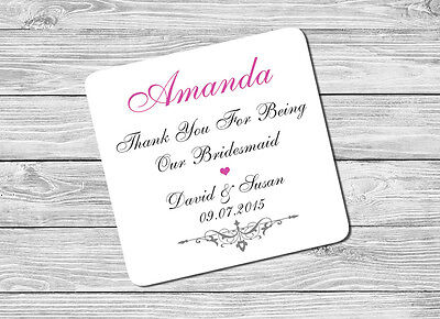 £2.75 • Buy Personalised Chief Bridesmaid Name & Date Drink Coaster Mat Wedding Day Gift