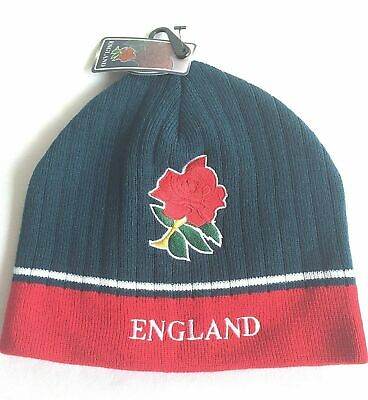 £4.99 • Buy Men's England Rugby Navy Red Woolly Beanie Hat World Cup English Rose Acrylic