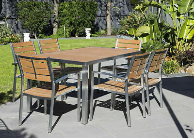 AU599.50 • Buy Outdoor Setting, Plywood 7 Pieces Table Chair, Alum Stainless Tube, Timber Set