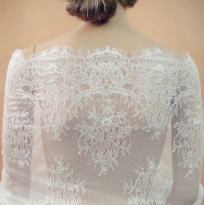£23.99 • Buy Chantilly Dancing Dress Lace Fabric Wedding Costume Veiling Stretch Tulle 1 PC