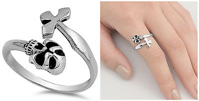 $15.52 • Buy Sterling Silver 925 LADIES MENS SKULL WITH CROSS DESIGN RING 15MM SIZES 4-12