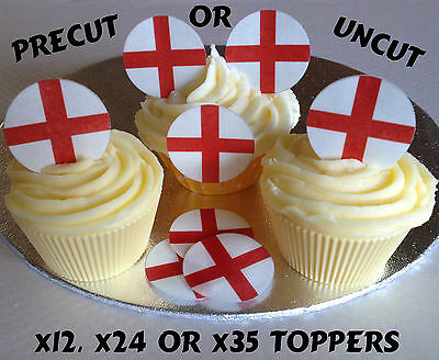£3.90 • Buy England Flags Precut Rice Wafer Paper Party Cupcake Toppers Football Rugby Sport