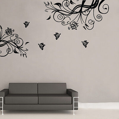 Butterfly To Branch Wall Art Sticker Art Vintage Shabby Chic Room (BB16) • 12.99£