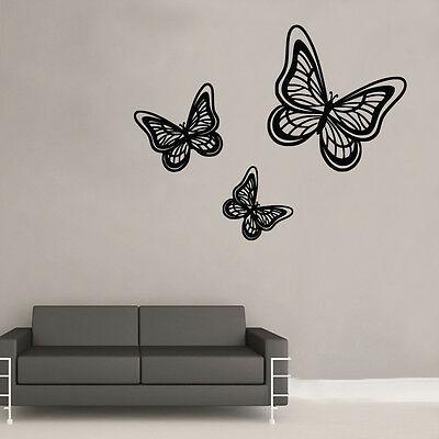 Butterfly Trio Wall Art Sticker Art Vintage Shabby Chic Room (BB17) • 12.99£