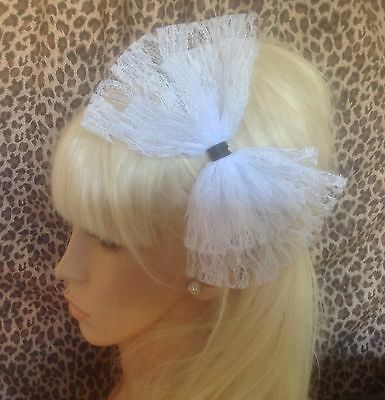 £3.99 • Buy BIG WHITE LACE BOW SATIN ALICE HAIR HEAD BAND 80s RETRO HEN PARTY FANCY DRESS