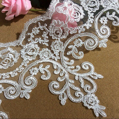 £5.99 • Buy Bridal Dress Lace Corded Wedding Floral Edging Embroidered Costume Ribbon 1 Y