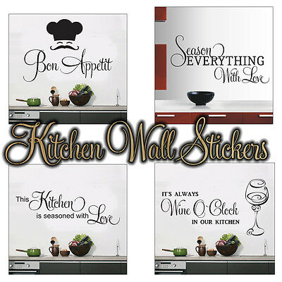 £4.99 • Buy Kitchen Wall Stickers 4 Designs To Choose From Wall Art 4 Sizes