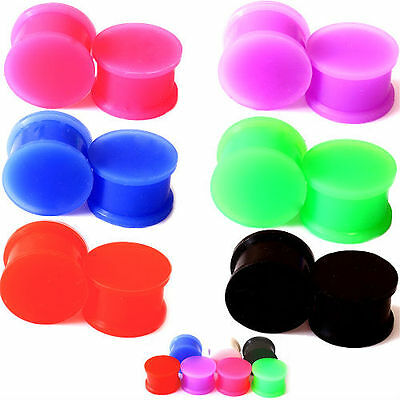 $4.99 • Buy PAIR-SOLID LARGE LIP Silicone Ear Skins-Ear Gauges-Soft Ear Plugs-Ear Tunnels