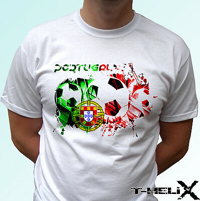 Portugal Football - White T Shirt Flag Top Tee - Mens Womens Kids & Baby Sizes • 9.99£