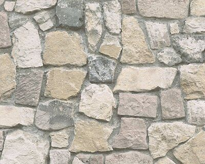 £8.90 • Buy Realistic Crazy Paving Brick Stone Wall Feature Wallpaper A.s.creation 6924-12