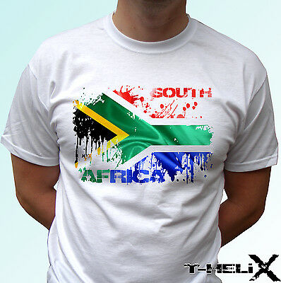 South Africa Flag - White T Shirt Top Country Design Mens Womens Kids & Baby • 9.99£