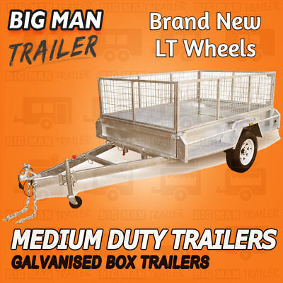 AU2324.44 • Buy 7x5 Galvanised Box Trailer With 600mm Cage 300mm Side Cheker Heavy Duty