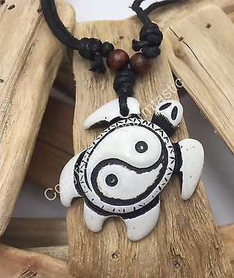 AU13.99 • Buy Carved YIN YANG TURTLE Necklace - Surfer - White
