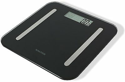 Salter Weighing Scale Black Glass StowAWeigh 9147 Body Fat Analyser Bathroom • 119.38£