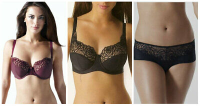 Panache Superbra Harmony PLUNGE  Bra Black Or Burgund (4031) Or Briefs Black B-6 • 8.99£