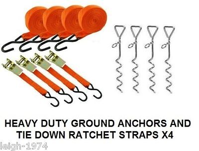 £35.21 • Buy 4 X MARQUEE STORM TIE DOWN GROUND PEG ANCHOR STAKES + 4 X 15ft Ratchet Straps