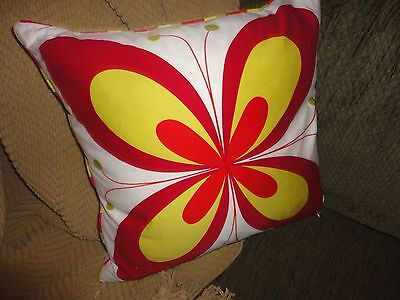 Ikea Hanna Blomma Yellow Red White Butterfly Square Throw Pillow 18 X 18 • 18.88£