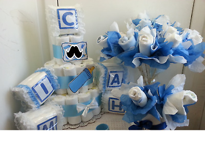 Baby Shower Diaper Cake Centerpiece Table Decoration Gift Set/Boy Girl • 89.41£