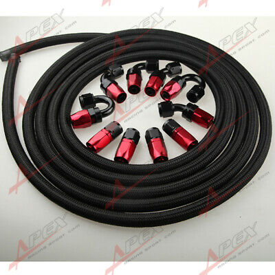 AU121.69 • Buy AUS AN8 8AN Nylon Braided Oil/Fuel Hose + Fitting Hose End Adaptor Red And Black
