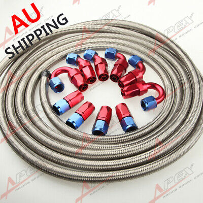 AU119.60 • Buy AN8 8-AN STAINLESS STEEL BRAIDED OIL/FUEL Hose + Fitting Hose End Adaptor Kit