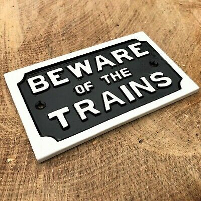 £9.90 • Buy Beware Of Trains Retro Antique Style Metal Sign Vintage Wall Decor Iron Steam