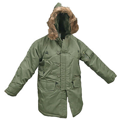 $81.81 • Buy Army Military Style N3B Parka Insulated Padded Brown Fur Top Hooded Jacket Olive