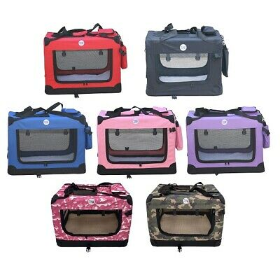 HugglePets Fabric Dog Crate Puppy Carrier - Cat Travel Cage Carry Pet Bag 4 Size • 29.99£